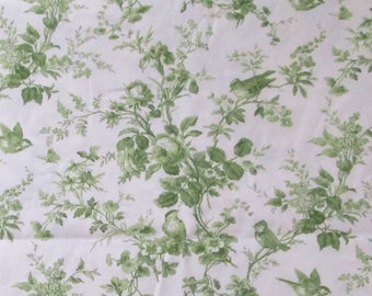 Thibaut 56x56 Bird Fabric Home Decor Green White Toile Birds Flowers Leaves Vintage Remnant for Valance Pillow Covers Totes Nursery Isabelle