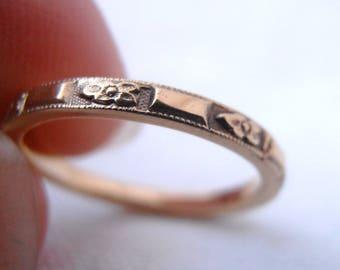 Custom size 8 18k Gold Orange Blossom Flower Wedding Band by Chasing Jewelry