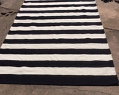 Large Cotton Handwoven Rug, Black and White Striped