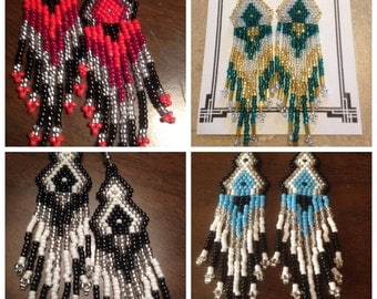 Long Tri-Color Seed Bead Earrings, red, white,teal,lt blue