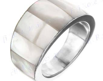 White Mother Of Pearl Shell 925 Sterling Silver Band Us 9 Ring