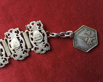 Paris monument french silver plated link bracelet