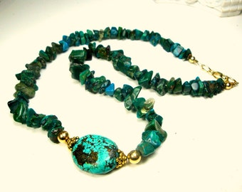 Turquoise n Stone Nugget Necklace, Earthy Green Rough Stones w Big Oval Stone Focal Bead, OOak R Starr, Gold Accents