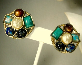 Miracle Scottish Style Clip Earrings by Sarah Cov, Dense Colorful Glass Stones in a Pewtertone Celtic Style Setting, 1960s