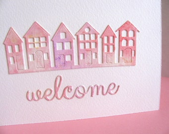 Watercoloured Welcome on Creamy Ivory Card / Peach Palette, Pink / Houses in a Row / It Takes a Village / Ready to Ship