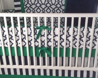 Baby Boy Crib Bumper Navy and Kelly Green Ready to Ship