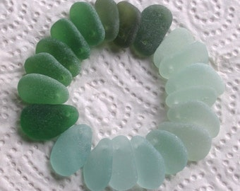 20 Sea Glass Pendants Beads Top Drilled 1.8mm holes Jewellery Quality Supplies (1964)