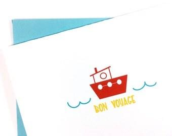 Bon Voyage Card, Travel Card, Goodbye Card, Miss You Card, Greeting Card for Friend, Tug Boat Card, Single Card, Blank Card, Nautical Card