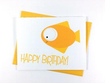 Birthday Card, Happy Birthday Card, Children's Greeting Card, Sea Creature Card, Fish Card - Single