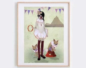 Clown Art Print - Piglet Print - Wall Decor - Circus Art - Piglet Parade
