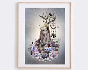 Lowbrow Art Print - Big Eyed Girl - Floral Print - Flower Girl Print - Dreamcatcher Art Print - The Collector