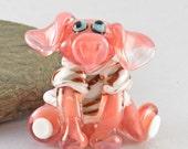 PIG, Piggin' Freezin'  sculpture  lampwork glass bead, whimisical lampwork focal bead, Izzybeads SRA