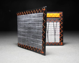 Rugged Carbon Fiber RFID Blocking Wallet - Matte Gray, Black & Orange - Bifold ID