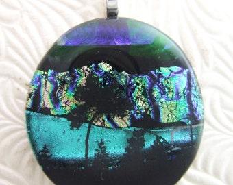 Northern Lights Pendant, Fused Glass Jewelry Handmade in North Carolina