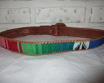 Vintage Woven Guatemalan Omega Belt Southwestern Woven Fabric Cloth Tribal Belt Colorful Leather Belt Size Medium