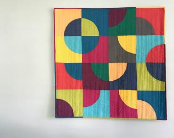 Custom Made-to-Order Baby Quilt or Wall Hanging - Modern Drunkards Path