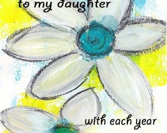 "Happy Birthday to my Daughter - 5""x7"" Blank Greeting Card, Birthday Stationery, Birthday Card, Birthdays, Wholesale"
