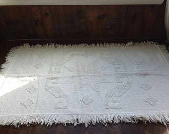 "BOHO White Boho Vintage Throw Rug / geometric ethnic / 57"" x 32"""