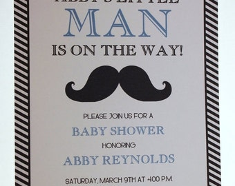 ON SALE Mustache Bash Custom Baby Shower Invitation