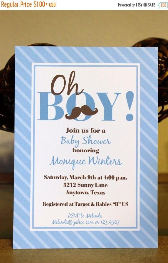 SALE Mustache Bash Custom Baby Shower Invitation