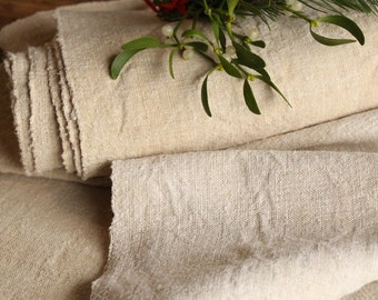 R 512 : antique handloomed  8.74 yards french 리넨 two-toned upholstering curtain projects wedding  NATURAL CREAMY