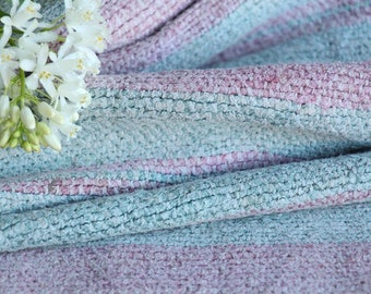 RP 637 antique handloomed lin FADED ROSE and Baby Blue 2.18yards by 22.05inches ; upholstery fabric wool and lin cushion pillow