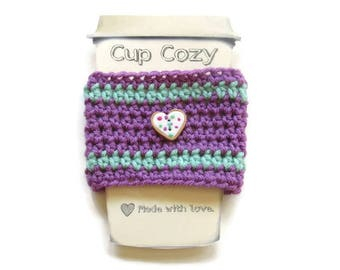 Crocheted Plum and Teal Coffee Cup Cozy - Crocheted Cup Sleeve - Crocheted Cup Warmer With Heart Cookie Button