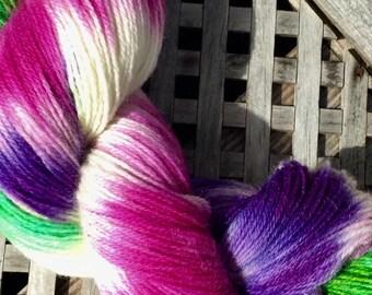 Hand dyed yarn, Exmoor Blueface, Polwarth, Nylon, hand painted yarn, fingering yarn, Indie dyed yarn, Wild Orchid