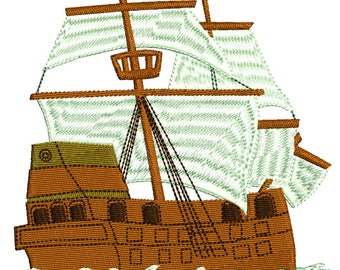 Pirate Ship and Sails machine embroidery design