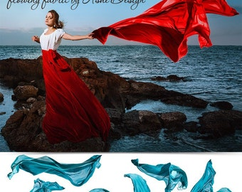 Designer Gems - Flowing Fabric Overlays - (5) Photoshop .png files 3500 Wide. Photography Overlays For Your Photos and Quick Pages.