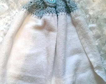 Crochet Top Hanging Kitchen Towel, Hanging Towel, Towel, Blue