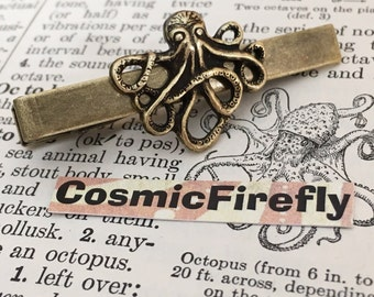 Brass Octopus Tie Clip Antiqued Brass Steampunk Tie Bar Men's Tie Clip Handcrafted Tie Bar Expertly Handcrafted By Cosmic Firefly