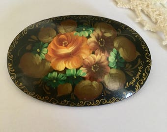 Beautiful Vintage Handpainted Russian Floral Lacquer Pin Brooch Made in Russia