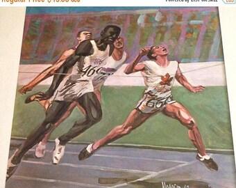 SALE Vintage Sports Running Print, Signed Hodgson, 1962, Framed Art