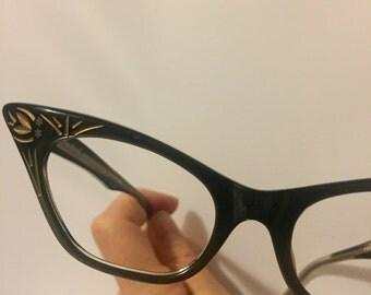 Black Cateye Glasses, Black Plastic Cat Eyeglasses Vintage 1950s New Old Stock Frames in Black Gold Detail, Raybert Signorina Petite Frames