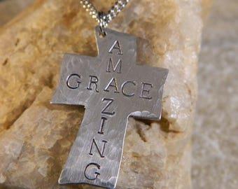 Amazing Grace Hand cut Aluminum Cross Necklace