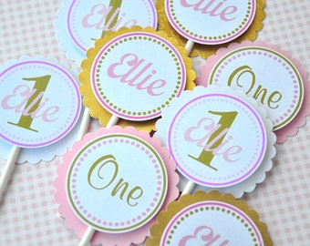 Pink and Gold Cupcake Toppers, Pink and Gold Birthday Decorations - Set of 12