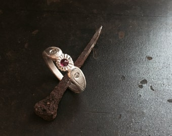 Ruby relic ring in sterling silver with diamond flush settings,  milgrain and engraved details, darkened or brushed finish