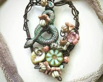 Snake in the garden, wire wrapped pendant with hand painted brass snake and glass flowers, Spring necklace, artisan jewelry