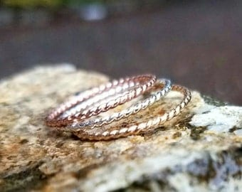 THREE Twist Rings Set in Sterling Silver, 14k Rose Gold and 14k Yellow Gold - Rope Rings  Stacking Rings
