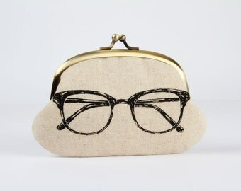 Metal frame coin purse - Eyeglass on natural - Big smile / Japanese fabric / Echino / off white black glass blue