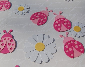 pink ladybugs and daisies paper die cut confetti party table scatter birthday bridal shower 50 pieces