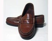 Vintage Dark Saddle Leather Womens Shoes Loafers w/ pennies Sze. 6.5 Dexter
