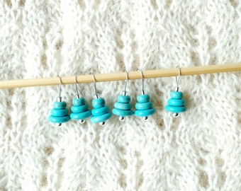 knitting stitch markers - turquoise blue green stacked stones - snag free loops - set of 6 - three loop sizes available