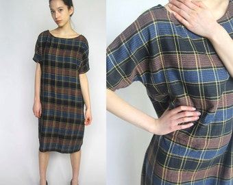 playdate -- everyday sack dress made from beautiful vintage plaid fabric S/M