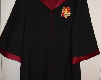 Gryffindor robe, Harry Potter inspired, size 10/12 youth with wand