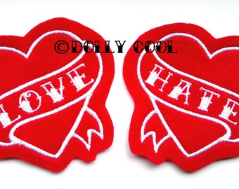 Tattoo Heart Patch Pair of White on Red love and hate tattoo style sew on
