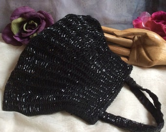 Vintage black beaded dressy evening pouch, small black beaded slouchy evening bag, woven beaded black dressy pouch bag, flapper purse