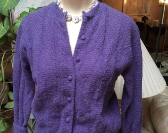 Vintage Beercroft heathered purple cardigan sweater, sz Small 36 soft purple plum wool sweater, preppy muted heather purple short cardigan