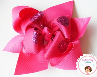 BOW BLOWOUT---Large Boutique Double Layered Hair Bow Clip---Shocking Pink---Big Dot Sparkle Collection